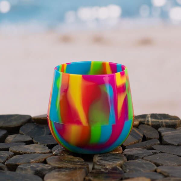 14 oz Hippie Hops Silicone Stemless Wine Glass