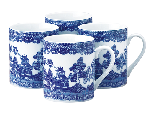 Set of 4 Blue Willow Mugs