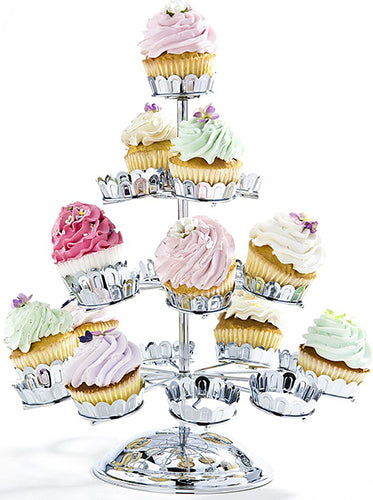 Godinger Chrome Plated 21 Cupcake Stand