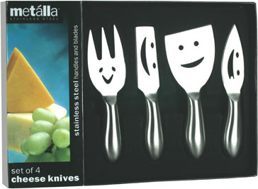 Set of 4 Happy Faces Cheese Knives