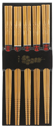 Helen's Asian Kitchen 5 Pair Engraved Chopsticks