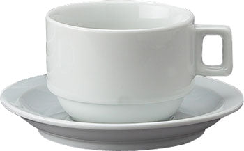 Set of 4 Stackable Cappuccino Cups & Saucers with Stand
