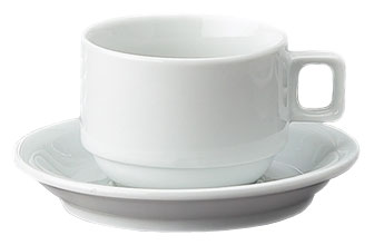 Set of 4 Stackable Demi Cups & Saucers with Stand