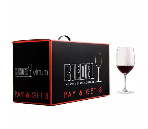 Riedel Pay 6 Get 8 Vinum Bordeaux Wine Glasses