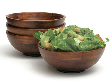 Set of 4 Individual Cherry Wood Salad Bowls