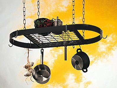 Rogar Black Oval Pot Rack with Chrome Grid