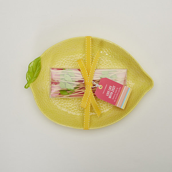 Lemon Hors d'Oeuvre Plate and Picks Set
