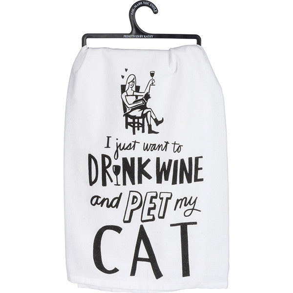 Primitives By Kathy Drink Wine Pet Cat Tea Towel