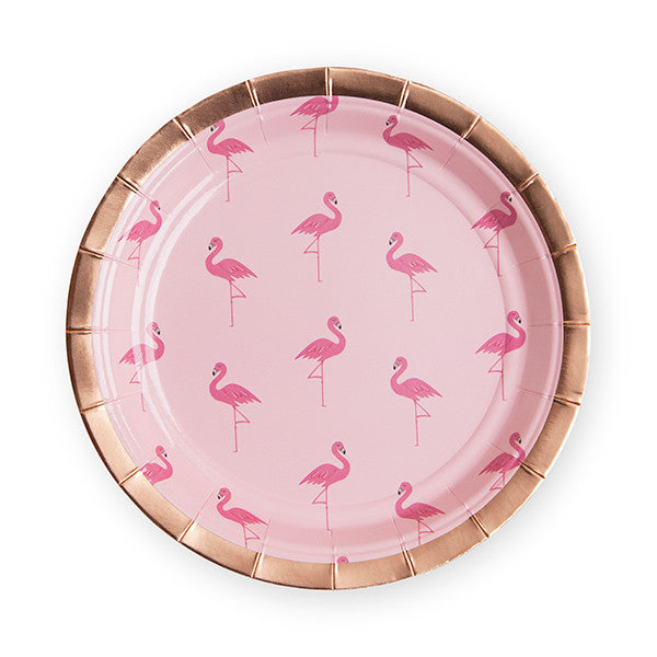 Set of 8 Flamingo Paper Appetizer Plates