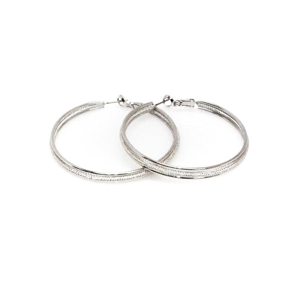 Silver Hoop Earrings 1.75