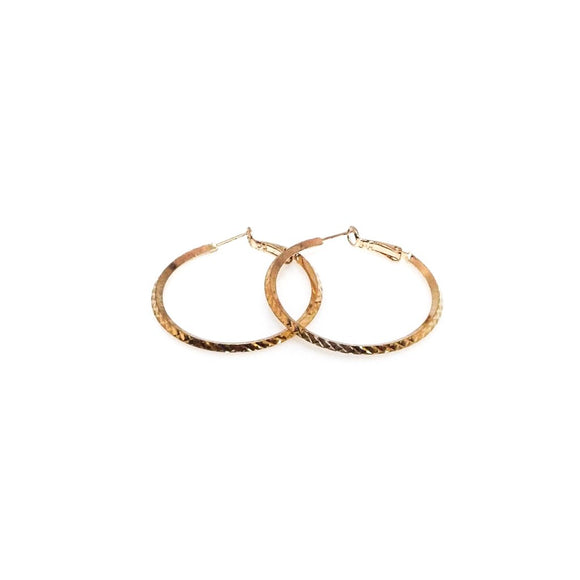 Textured Gold Hoop Earrings 1.25