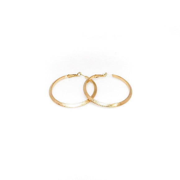 Textured Polished Gold Hoop Earrings 1.5