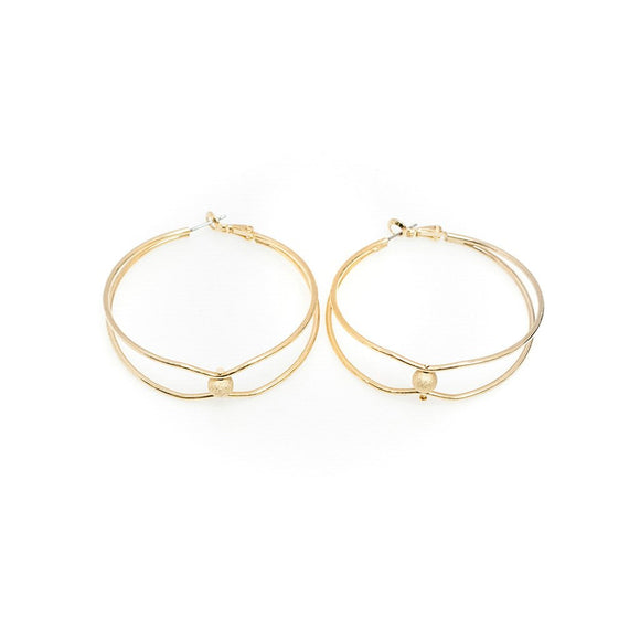 Gold Bi-Layer Hoop Earrings 2