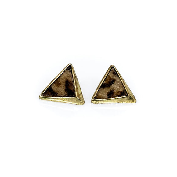 Leopard Print Triangle stud Earrings