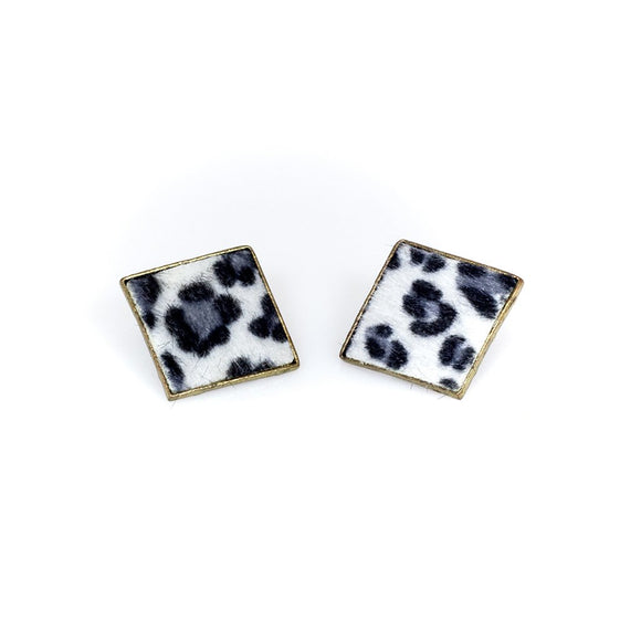 Leopard Print Rectangular stud Earrings