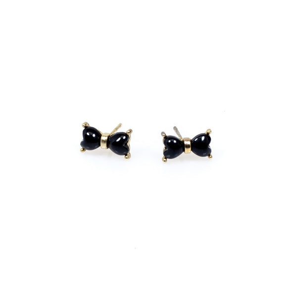 Black Ribbon Stud Earrings