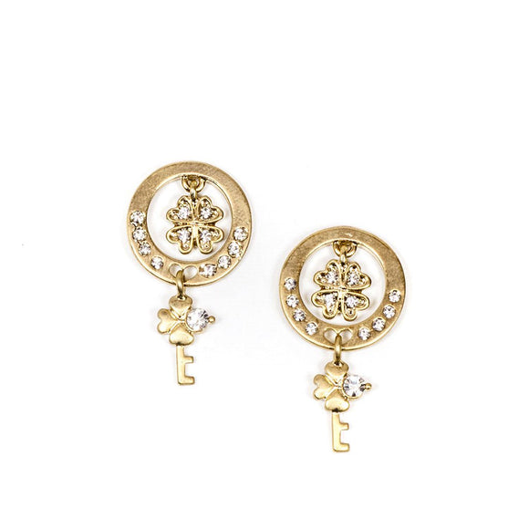 Gold Key Shape Earrings