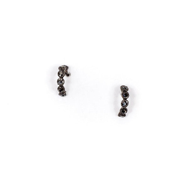 Small Simple Black Cubic Earrings