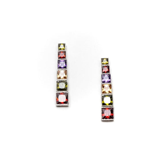 Multi Color Rhinestone Long Earrings
