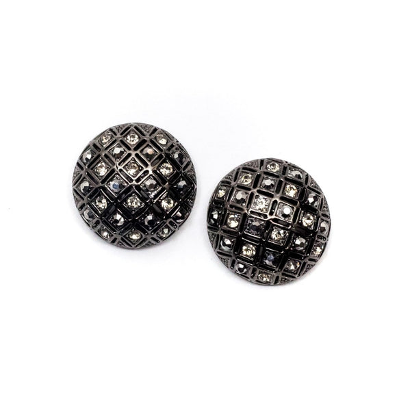 Grey Rhinestones Silver Stud Earrings