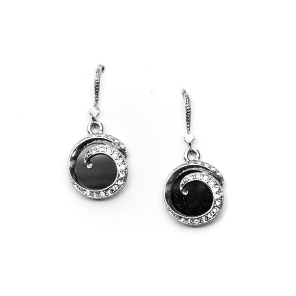 Black Gemstone with Rhinestone Earrings