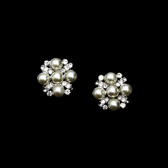 Pearls Combine with Rhinestones Studs