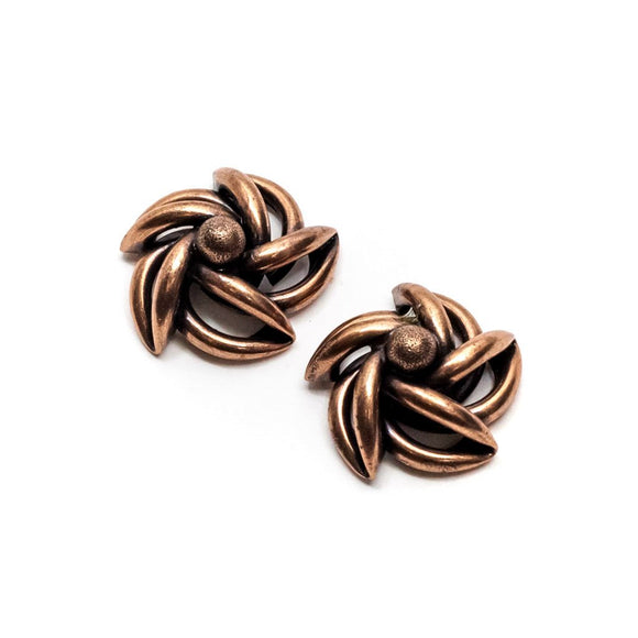 Cooper Spinning Shape Stud Earrings