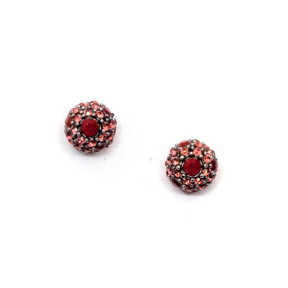 Red Circular Swarovski Stud Earrings