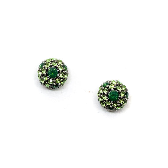 Green Circular Swarovski Stud Earrings