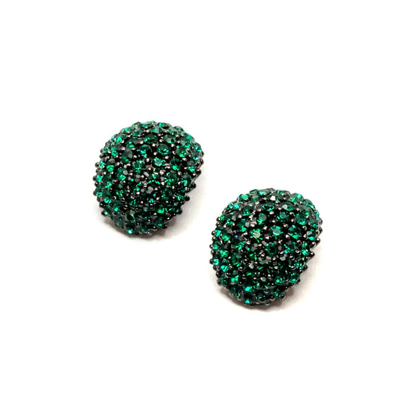 Oval Shape Green  Swarovski Stud Earrings