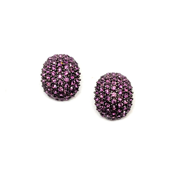 Oval Shape Pink Swarovski Stud Earrings
