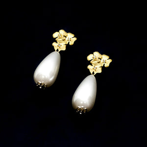 Gold Flower with Drops Pearls Earrings