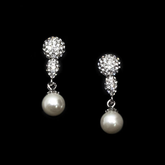 Rhine Stone with Pearl Earrings