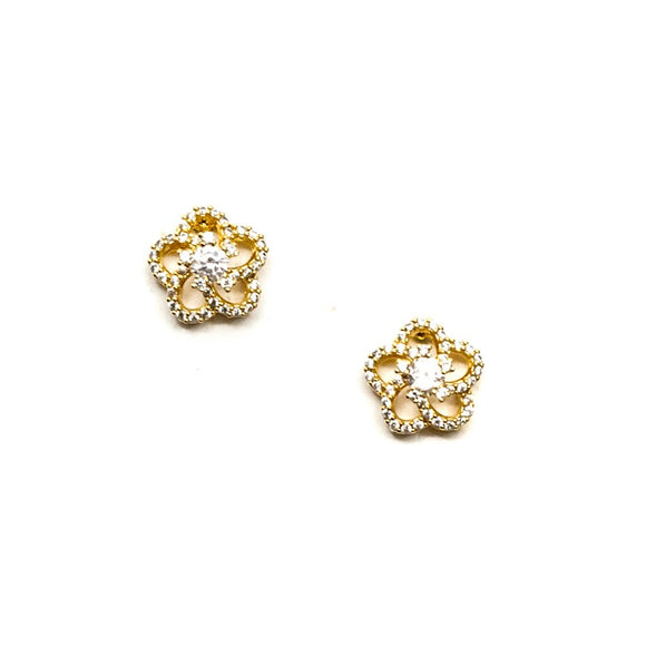 Hollow Circular shape with Rhinestone Flower Earring