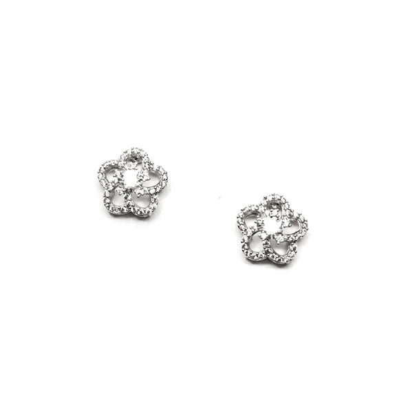 Flower Silver Shape Swarovski Stud Earrings