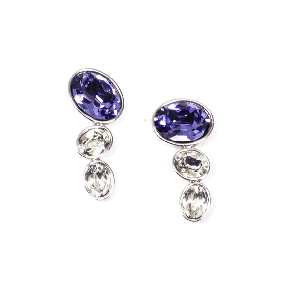 Purple and Clear Swarovski Earrings