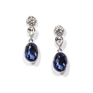 Dangle Clear and Navy Swarovski Earrings