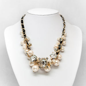 Pearl & Rhinestone Cluster Necklace