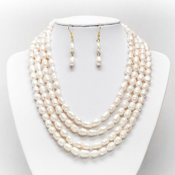 Four Pearl Layer Necklace and Earring Set