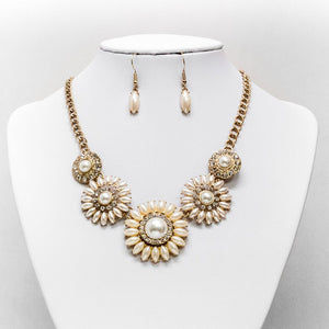 Pearl & Rhinestone Necklace and Earring Set