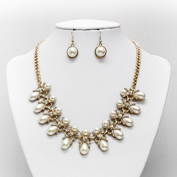 Pearl & Rhinestone X Necklace and Earring Set