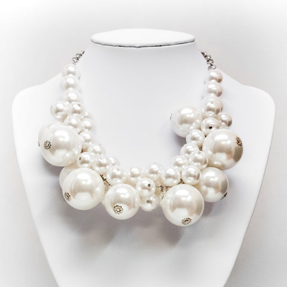 Large Pearl Cluster Necklace