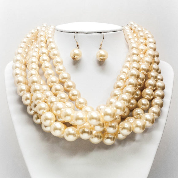 Large Pearl Cluster Necklace and Earring Set