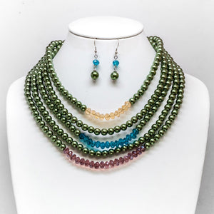 Multi-Color Pearl Necklace and Earring Set