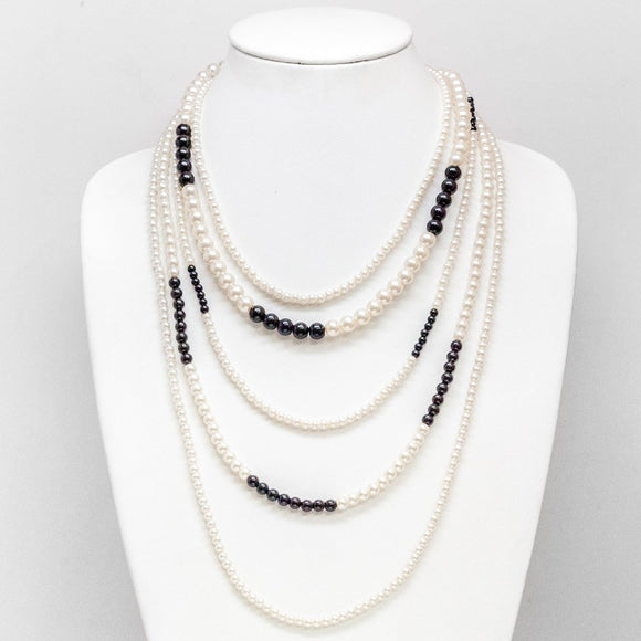 Black & White Pearl Drape Necklace