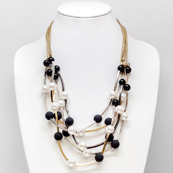 Pearl and Black Bead Necklace