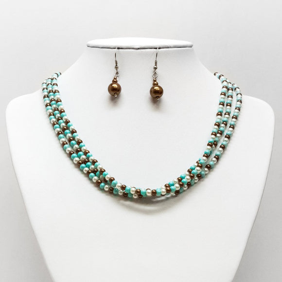 Three Tone Pearl Necklace and Earring Set