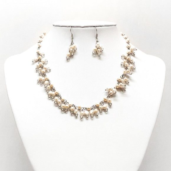 Pearl & Bead Necklace and Earring Set