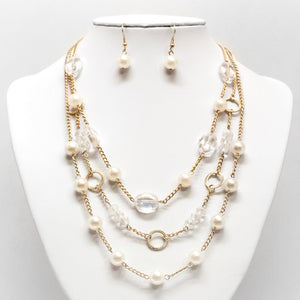 Pearl Bead & Chain Necklace and Earring Set