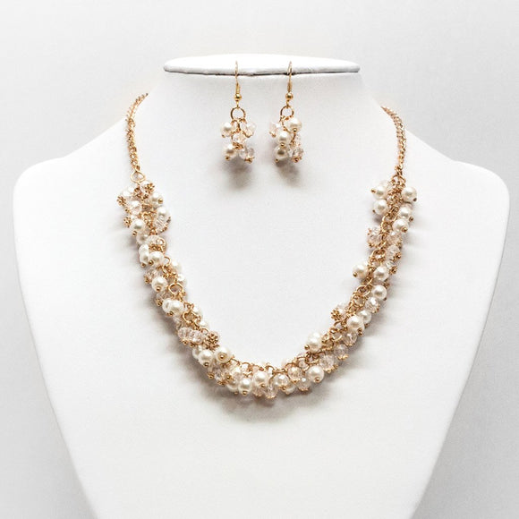 Pearl Chunk Necklace and Earring Set